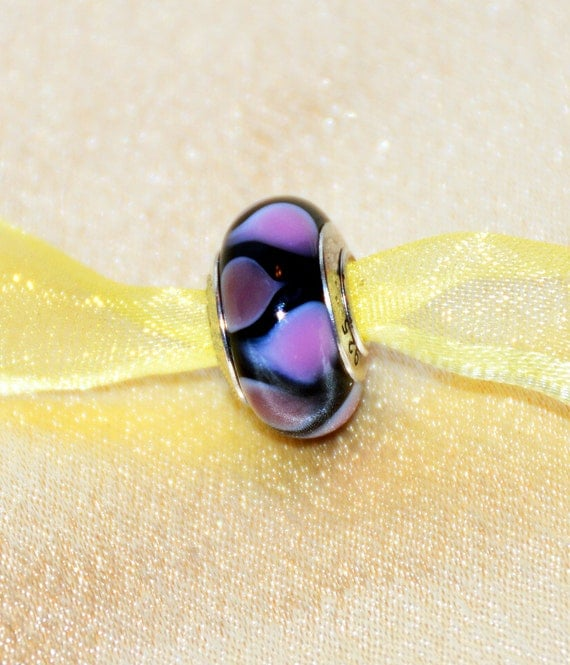 Black Murano Glass Bead with Pink and Purple Triangle Design Sterling Silver Core .925 For European Style Bracelets