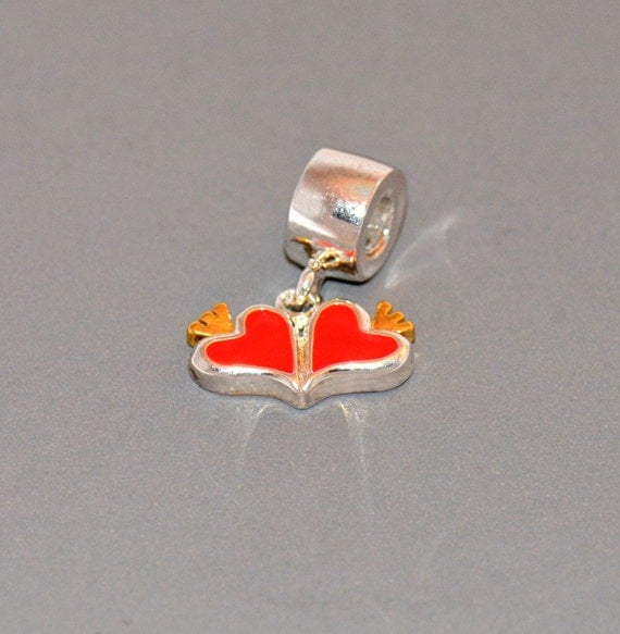 Double Red Enamel Heart with Gold Crown Charm