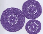 3 crochet rugs miniature table cloth afghan bedspread purple doll house embellishment applique accesories