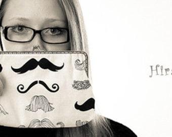 Cotton fabric mustache purse frame purse bridesmaid handbag bag Alexander Henry fabric