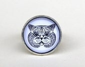 British shorthair glass cabochon ring in old silver
