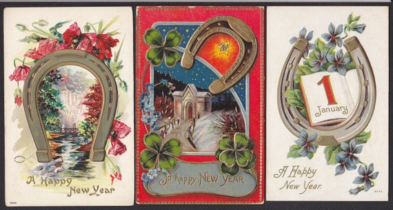 3 Antique New Year-Holiday-Horseshoe-Flowers-Postcard Lot  (33A)