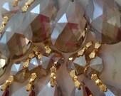 20 Champagne Teardrop Chandelier Crystals Golden Teak Prism 38mm