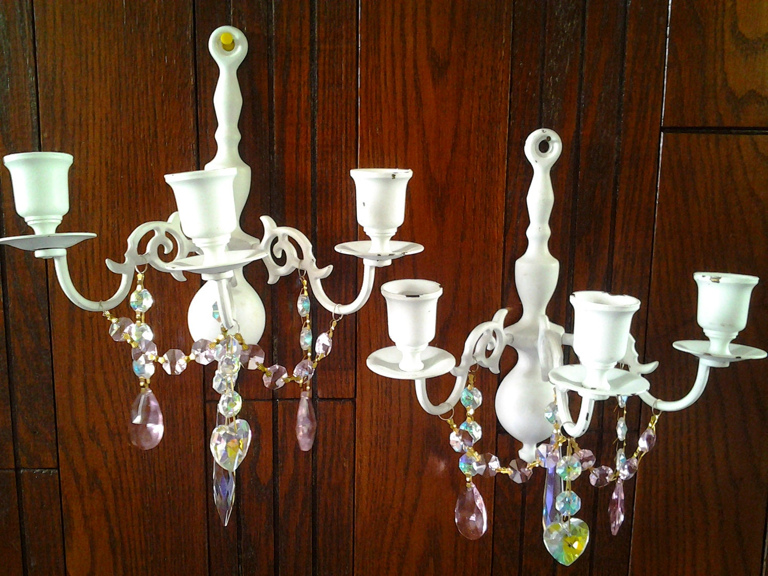 2 Candle Wall Sconces Shabby Chic Cottage Style Pale Aqua with