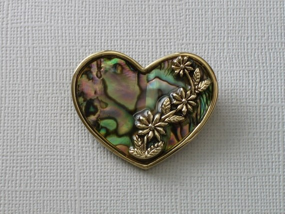 Vintage Heart Shaped Brooch - Abalone Shell with Raised Relief Flowers