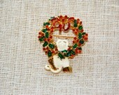 Vintage Gold Christmas Wreath and Cat Brooch/Pin