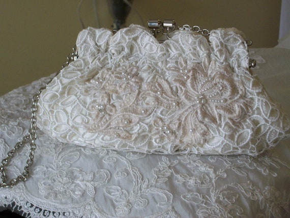 Wedding Bridal Venise Lace Vintage applied Lace Handsewn, Handbeaded Overlay Silver Closure Clutch Bag