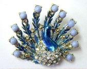 Vintage Peacock Enamel Rhinestone Figural Pin Brooch
