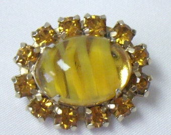 Vintage Givre Yellow Glass Cab Topaz Rhinestone Pin Brooch