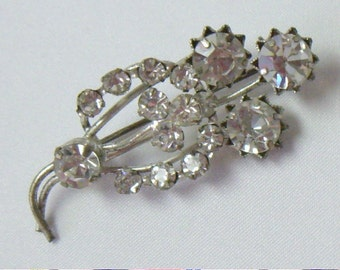 Vintage White Rhinestone Floral Brooch Pin