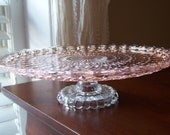 Cake Stand/cupcake stand/pastry plate: Peach/Pink vintage glass