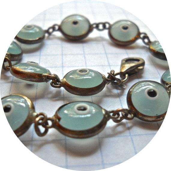 Vintage Blue Eyelet Bracelet