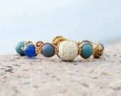 Nahuatl, Cinnabar bead, macramé bracelet, metal button, white, blue, europeanstreetteam
