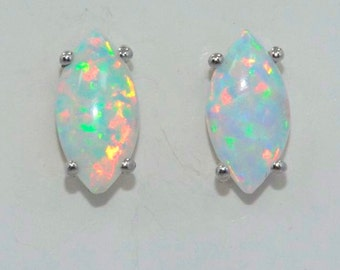 Genuine Opal Marquise Stud Earrings .925 Sterling Silver Rhodium Finish
