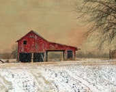 """Red Barn In Snow 5""""x7"""" Photo Greeting Card"""