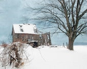 "Collapsing Barn In Winter Snow  8""x10"" Photograph"