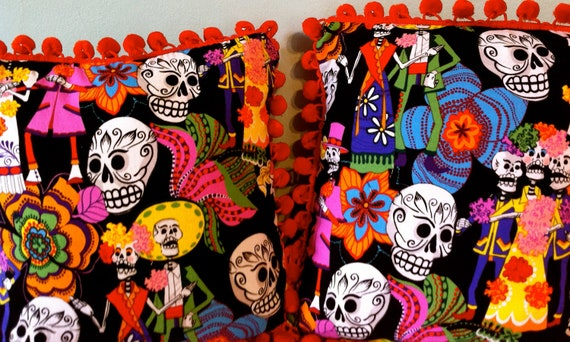 """12""""x12"""" day of the dead sugar skulls with orange dingle balls pillow, hand sewn"""