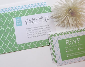 Wedding Invitations with a Modern Geometric Moroccan Pattern (Sample Set)