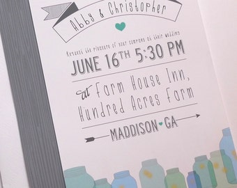 Custom Wedding Invitations with a Wood Grain and Mason Jar Pattern (Sample Set)