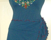 Beautiful Embroidered Vintage Rosa Ferrer Two Piece Swimsuit and Sarong Cover Up size 8