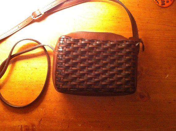 Brown and black woven purse