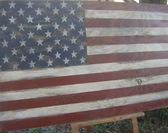 "Distressed American Flag wall decor 32""/Patriotic/red white blue/americana"