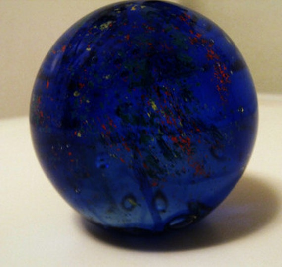 Royal Blue Paperweight With Mixed Colors and Now at a Great Price
