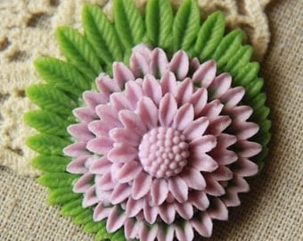 6 pcs of resin pom chrysanthemum flower cabochon 40mm