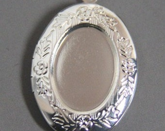 12 pcs of brass locket for 13x18mm cameo-BL3038-Silver