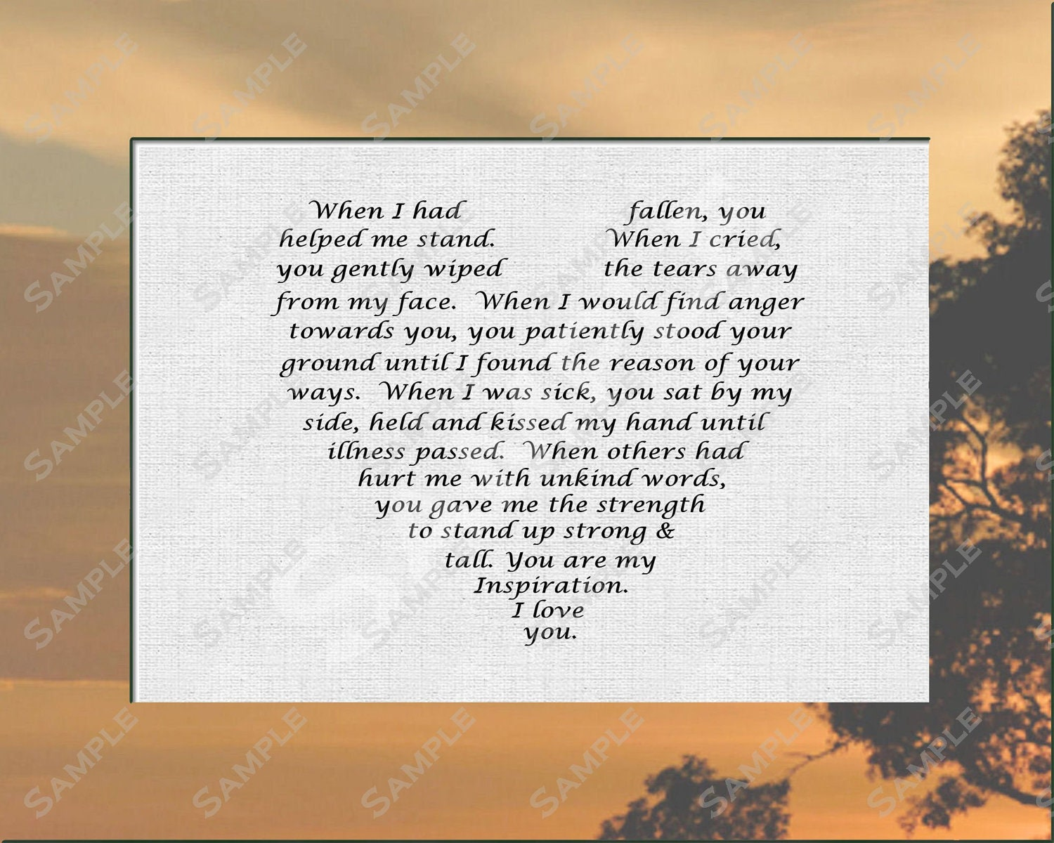 Gift For Mom Dad From Son Or Daughter Love Poem 8 X