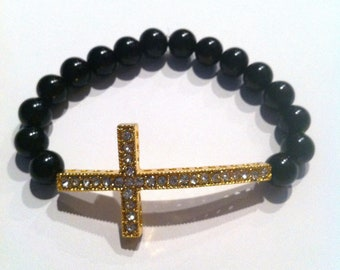 Gold Rhinestone Sideways Cross Black Beaded Bracelet