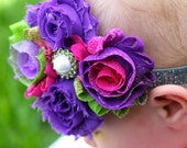 Pink, Green and Purple neon three color shabby headband: -- Free Shipping