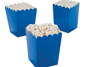 12 Mini Blue popcorn boxes treat favors