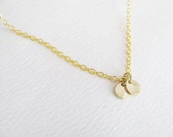 Two Gold Hammered Coins Necklace, Simple Necklace, Everyday Necklace, Dainty Necklace, Bridesmaid Necklace, Thin Necklace