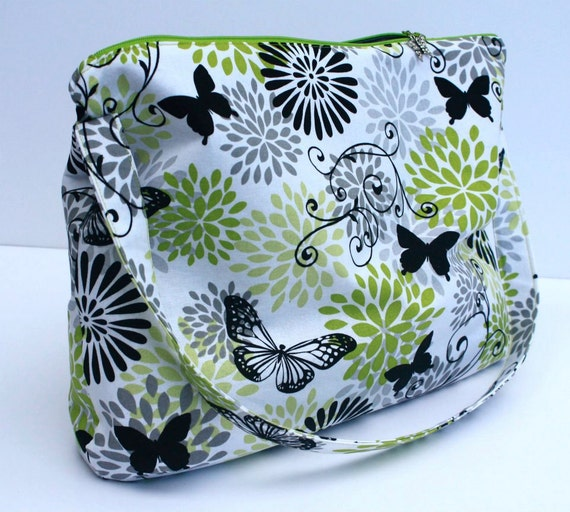 Large Green, Gray and White Floral Butterfly Hobo Bag With Butterfly Zipper Pull