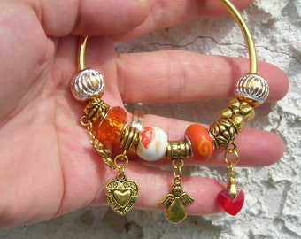 SALE! European gold platd beaded cuff Bracelet AUTUMN colors flower, orange PORCELAIN faceted acrylic, angel & heart charm
