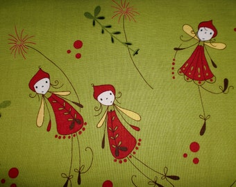 CLOSE OUT - Woodland Pixies Green Fabric background with Red Pixies