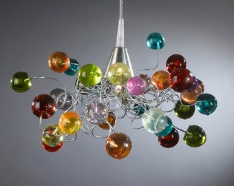 Lighting- Modern Multicolored bubbles Ceiling Light with silver metal wire, Ceiling light fixture for girls bedroom, toilet or bath.