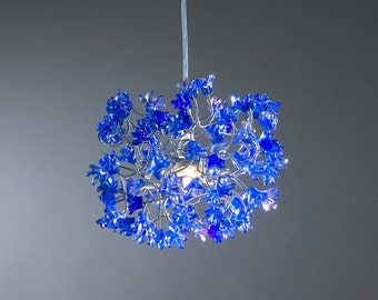 Blue flowers Hanging chandeliers for hall or bathroom, or as a bedside light - a unique pendant light.