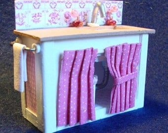 Dollhouse, Doll House,Craft Kit- Miniature Furniture -The Shabby Chic Sink A 1/24 inch scale printable, downloadable file.