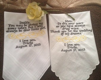 Personalized Wedding Hankderchief Mother and Father of the Bride embroidered