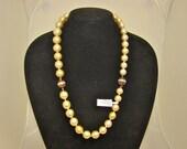 VINTAGE South Sea Cultured Golden Pearl Strand 18K Yellow Gold Diamond Balls