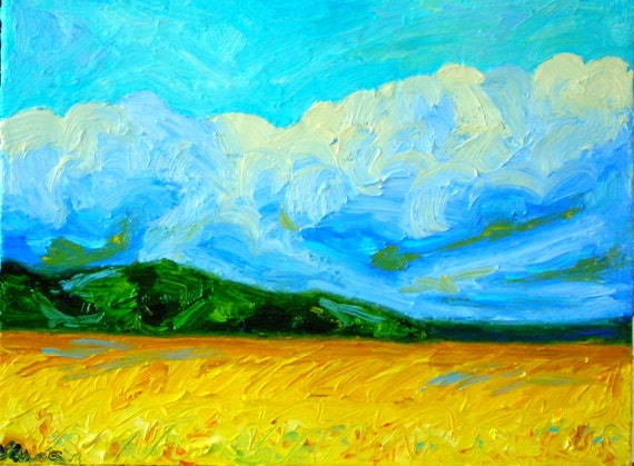 Clouds Oil Painting - Fine Art Original Landscape Painting - Cool Clouds Gold Field