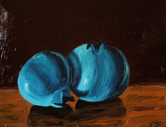 Blueberry Oil Painting - Still Life Original Fine Art Painting - Side Story