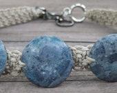 RESERVED FOR KR804: Blue stone hemp choker