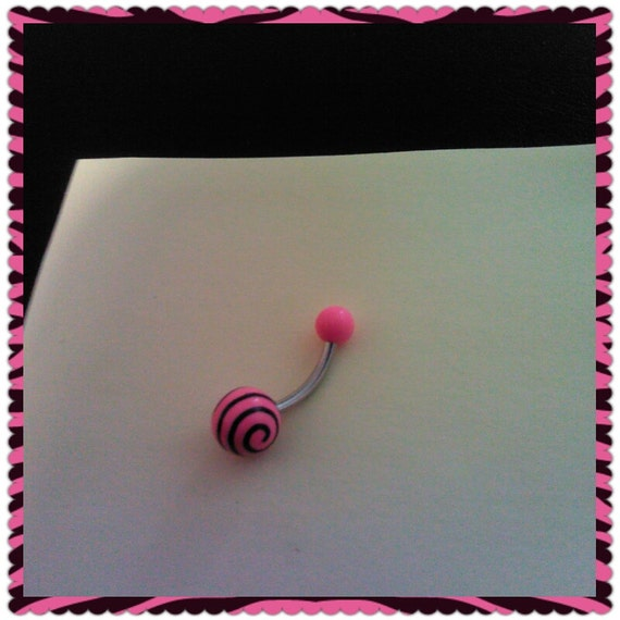 Black and Pink belly Ring