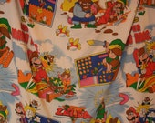 Vintage 1980s Nintendo Twin Fitted Bed Sheet with Legend of Zelda and Super Mario Bros.