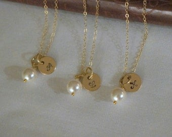 7 Gold Bridesmaid Jewelry Sets, Personalized Bridesmaid Gift, Custom Wedding Jewelry, Initial Necklaces