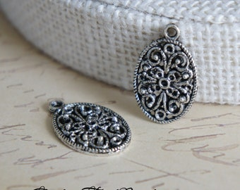 5pcs Tibetan Silver Oval Filigree Charms Pendants
