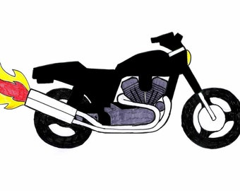PATTERN Harley style applique - modern Motorbike pdf pattern and instructions (medium skill)- downloadable file